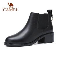 camel骆驼秋冬款黑色靴子女中跟马丁短靴粗跟切尔西靴短筒圆头鞋子