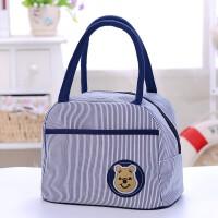饭盒包帆布手提包小熊便当包学生饭盒袋妈咪包妈妈包小布包女包 不