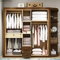 中式衣柜实木收纳简约现代三四五开门组装木质储物家用衣橱主卧室 [加边角柜]