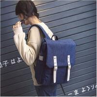 高中大学生帆布双肩包女大容量电脑包男女背包校园书包