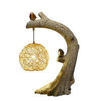 创意新中式复古台灯个性装饰客厅卧室床头灯温馨艺术小鸟禅意台灯 按钮开关