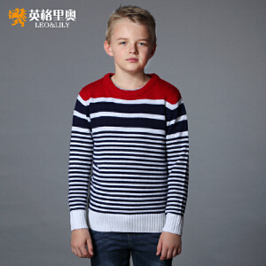 秋冬青少年中大童英格里奥男童毛衣儿童长袖新款英伦风经典圆领套头毛衣1254