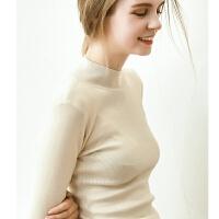 欧美秋冬2018新款紧身打底衫毛衣女修身长袖套头半高领针织衫