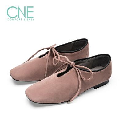 【顺丰包邮,大牌价:239】CNE2019年春夏款日系纯色方头低跟系带芭蕾舞鞋女单鞋9M13901 低跟系带芭蕾舞鞋女单鞋