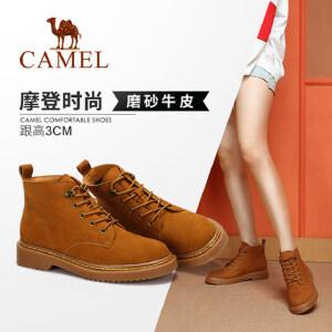 Camel/骆驼女鞋2018冬季新款 低跟时尚休闲简约潮流粗跟短筒女靴