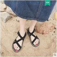 女新款平底罗马露趾沙滩凉鞋韩版学生港味chic风交叉带凉鞋