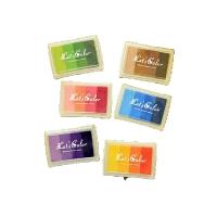 韩国文具Let's Color渐变色印台6色多彩彩色印泥 儿童DIY印章伴侣,6个装