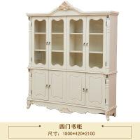 韩式书柜田园书柜白色书房韩式田园三门书柜书桌套餐欧式四门书柜 1.4米以上宽