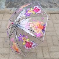 雨伞长柄女 卡通透明粉红猪小妹透明儿童雨伞男女孩长柄自动幼儿园小学生雨伞S 芭比透明雨伞2-8岁