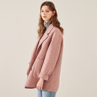 秋水伊人双面呢2018冬装新款女装纯色羊毛西装领毛呢大衣上衣外套