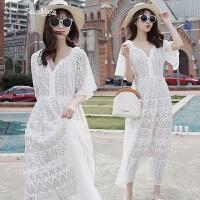 2018夏季新款白色蕾丝网纱超仙气V领连衣裙女海边度假沙滩长裙子