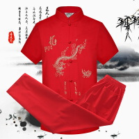 2018新款夏季中老年男士唐装短袖套装爷爷装2件套中国风爸爸春秋老人衣服