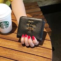 新款头层牛皮小蜜蜂钱包女2018新品欧美时尚短款零钱包搭扣皮夹潮 黑色 现货