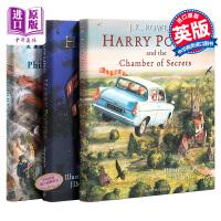 【现货】哈利波特英文原版 全彩绘本 1 2 3 Harry Potter The Illustrated 哈利波特与魔法石密室 阿兹卡班的囚徒 三册套装  插图 艺术画册