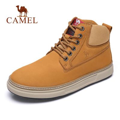 camel骆驼男鞋 秋季新款时尚户外工装鞋牛皮磨潮男砂休闲马丁靴