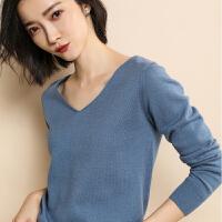 2018春季新款羊绒衫V领女韩版薄款纯色套头毛衣时尚针织衫打底衫