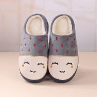 秋冬季棉拖鞋女情侣半包跟室内防滑保暖月子鞋居家居冬天毛毛拖鞋