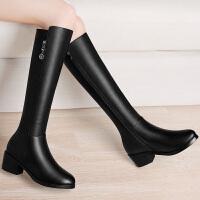 古奇天伦长筒靴女粗跟中跟弹力靴高筒女靴子2016新款秋冬季 8514