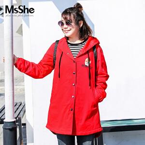 MsShe大码女装2017新款冬装胖mm连帽印花棉衣外套M1740421