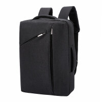 电脑包男女双肩背包15.6寸防泼水时尚潮流苹果笔记本新款学生运动风书包单肩潮包手提商务简约多功能收纳 黑色 15.6英
