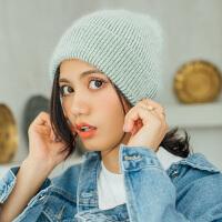 时尚帽子女冬天针织帽韩版潮休闲百搭冷帽甜美可爱秋冬保暖毛线帽