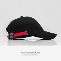春夏黑色棒球帽嘻哈帽子女韩版遮阳帽休闲撞色太阳帽男士鸭舌帽潮 黑色 可调节