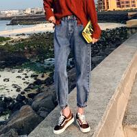 牛仔裤 女士网红同款九分裤高腰老爹裤2020年秋季新款韩版时尚女式休闲女装阔腿裤