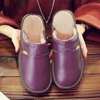 家用真皮棉拖鞋男女厚底防滑�底秋冬季保暖牛皮情�H室�让扌�新款
