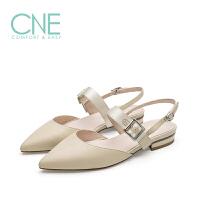 CNE19年秋季新款凉鞋女晚晚鞋一字带搭扣尖头低跟女凉鞋9M14201
