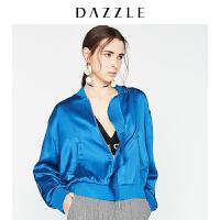 DAZZLE地素 18春专柜新款荷叶边拼接口袋桑蚕丝棒球外套2F1F4151S
