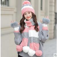 毛线帽子围巾手套三件套女一体保暖新款时尚韩版潮两件套