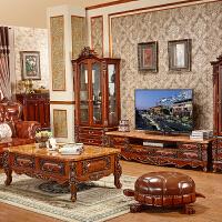 欧式大理石茶几方形小茶几实木雕台角几边几复古客厅橡木茶几 组装