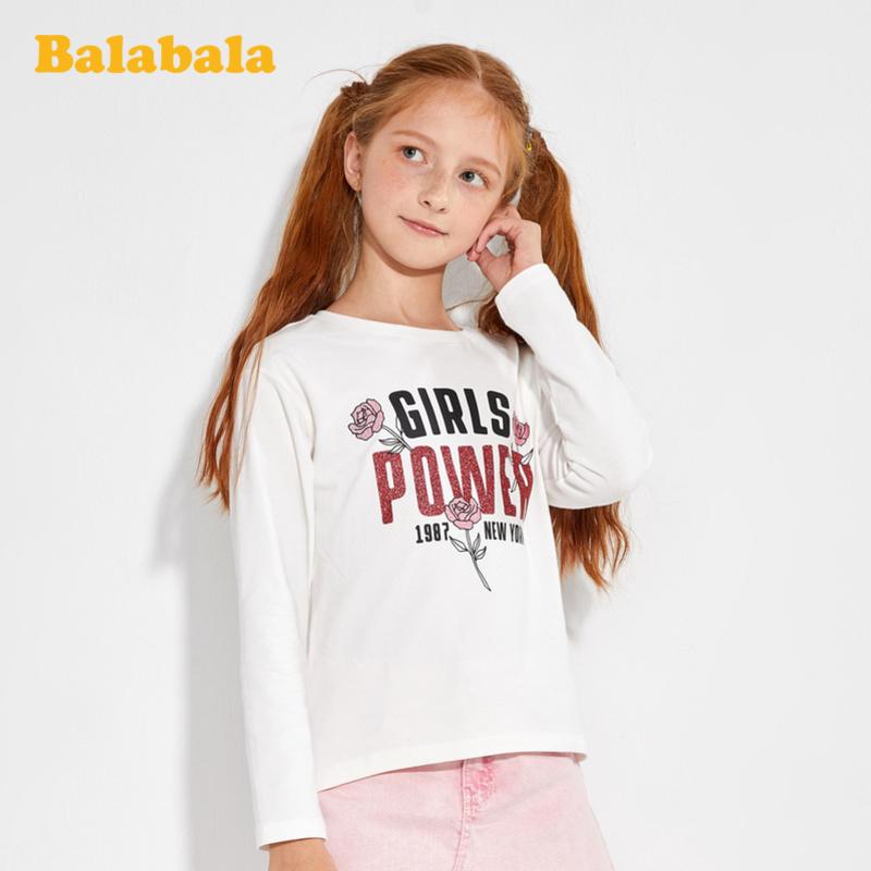 【满200减120】巴拉巴拉童装女童t恤儿童上衣春装2020新款中大童打底衫印花时尚