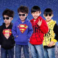 童装 冬装卫衣绒衫 男童加绒加厚外套开衫 超人上衣蜘蛛人卡通潮童装