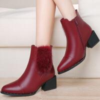 古奇天伦女靴 新款貂毛粗跟短靴圆头纯色中筒女靴防水台女鞋子 8529