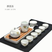 包邮 手绘白瓷荷花茶具套装整套功夫茶具礼盒套装 9件套