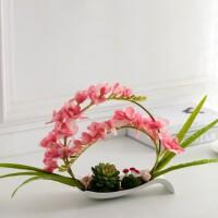 蝴蝶兰假花盆栽摆设欧式仿真花艺套装室内装饰花玄关餐桌盆景摆件