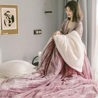 君别商场被子冬天单人冬季双层加厚羊羔绒毛毯法兰绒毯子沙发毯珊瑚绒毯空调毯午睡毯 PG 藕色 150*200cm 重1.