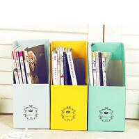 纯色加厚加固甜蜜糖果色DIY桌面收纳盒学生桌面书本纸质书立书桌桌面文件杂志收纳盒杂志收纳盒
