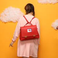 萝拉原创复古双肩包潮 英伦风森系书包女 chic大容量简约电脑背包SN6554 红色―手掌双肩包