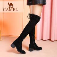 camel骆驼新款秋冬季女鞋子高跟弹力长筒靴粗跟高筒过膝靴