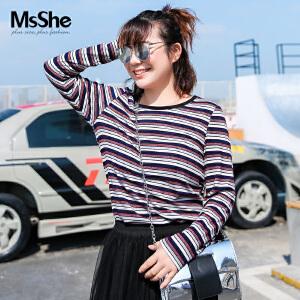 MsShe加大码女装2017新款冬装弹力修身条纹针织打底衫t恤M1740937