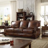 斯贝斯 美式真皮沙发组合沙发YM4068G 乡村欧式实木沙发 中厚皮新房婚床客厅家具