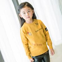 女童毛衣2017新款秋装韩版儿童打底衫宝宝中小童圆领套头针织衫