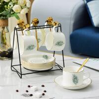 【家装节 夏季狂欢】陶瓷咖啡杯套装 欧式小奢华简约描金6件套创意家用茶杯碟