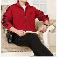 新款长袖休闲服中老年卫衣裤 开衫立领外套 男士大码运动套装