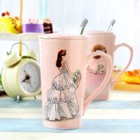 包邮  婚纱时装礼服陶瓷马克杯 手绘美女烫钻陶瓷杯陶瓷杯 咖啡杯