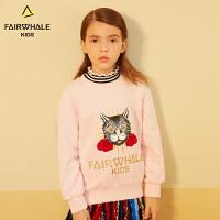 马克华菲童装商场同款卫衣19春新款儿童卡通时尚上衣女童打底衫潮