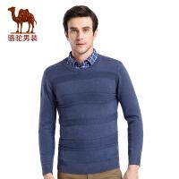 骆驼男装 秋季新款青年时尚青春流行纯色圆领修身男长袖毛衣