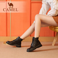 camel骆驼女鞋冬季新款女靴 英伦风时尚瘦瘦靴子马丁靴粗跟短靴子